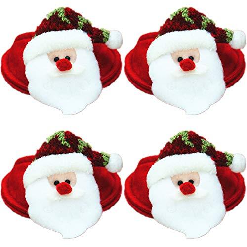 Myya 4 Unids/Set Gnomo Rojo De Navidad Santa Claus Copa De Vino Alfombrilla De Vidrio Cubre Fiesta De Navidad Hotel Restaurante Adorno De Mesa