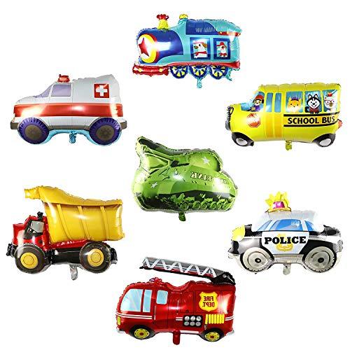 Comius Sharp Car Forma Palloncini di stagnola, 7 Pezzi Set di Palloncini per Veicoli, Grandi Dimensioni Palloncino Foil Party, Accessori per Feste di Compleanno,per Feste di Compleanno per Bambini.