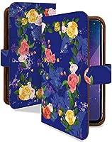 Xperia 5 II ケース 手帳型 携帯ケース ボタニカル柄 花柄 バラ 青 花 フラワー 青 おしゃれ エクスペリア マークツー スマホケース xperia5Ⅱ イラスト カメラレンズ全面保護 カード収納付き 全機種対応 t0841-00790