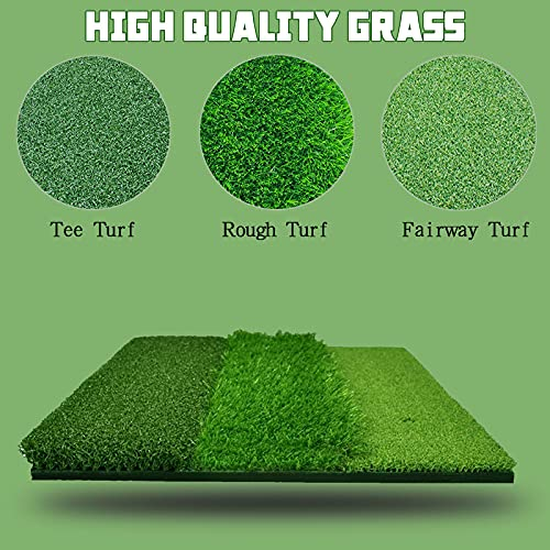 Golf Hitting Mat Large 24 X16 Inch 3 in 1 2 in 1Tri-Turf with 5x Rubber Tees, 6x Plastic Tees and 6x Foam Balls, Golf Practice Chipping Mat Foldable for Garden Backyard Indoor Golf Training Aids