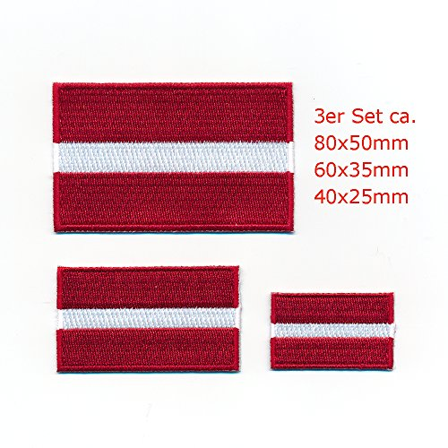 3 Lettland Riga Flaggen Baltikum EU Flags Patch Aufnäher Aufbügler Set 1054