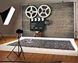 AOFOTO 7x5ft Old Movie Camera on Wood Board Background Vintage Film Motion Picture Photography Backdrop Video Reel Director Scene Retro Hollywood Party Decor Banner Photo Studio Props Vinyl Wallpaper