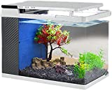 AY Mini escritorios de peces de escritorio ecología de los acuarios con vidrio HD y una bomba sumergible silenciosa, filtro lateral integrado, luz del tanque de pescado que ahorra energía con tres niv