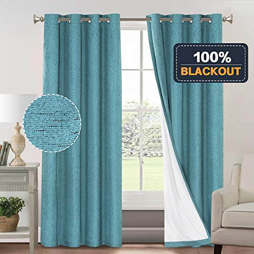 100% Blackout Thermal Insulated Curtains for Bedroom Energy Efficient Textured Rich Material Linen Curtains for Living Room Waterproof Window Treatment Set (52 x 96 inch,Teal + White Liner)
