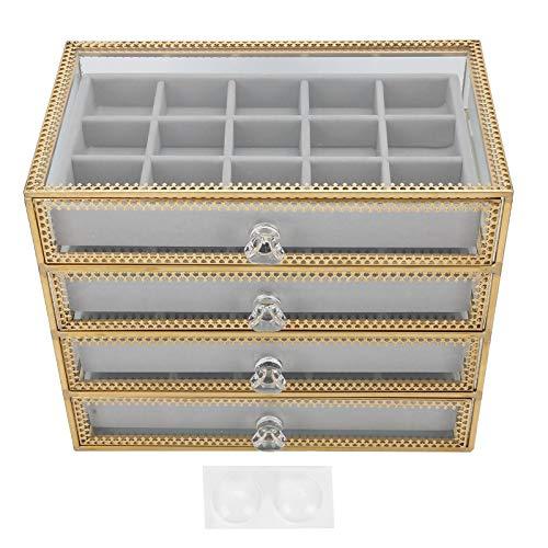 Caja de almacenamiento de uñas falsas, organizador de joyería de terciopelo, caja de joyería de 4 capas, caja de almacenamiento de exhibición de joyería con 4 cajones para mostrador de