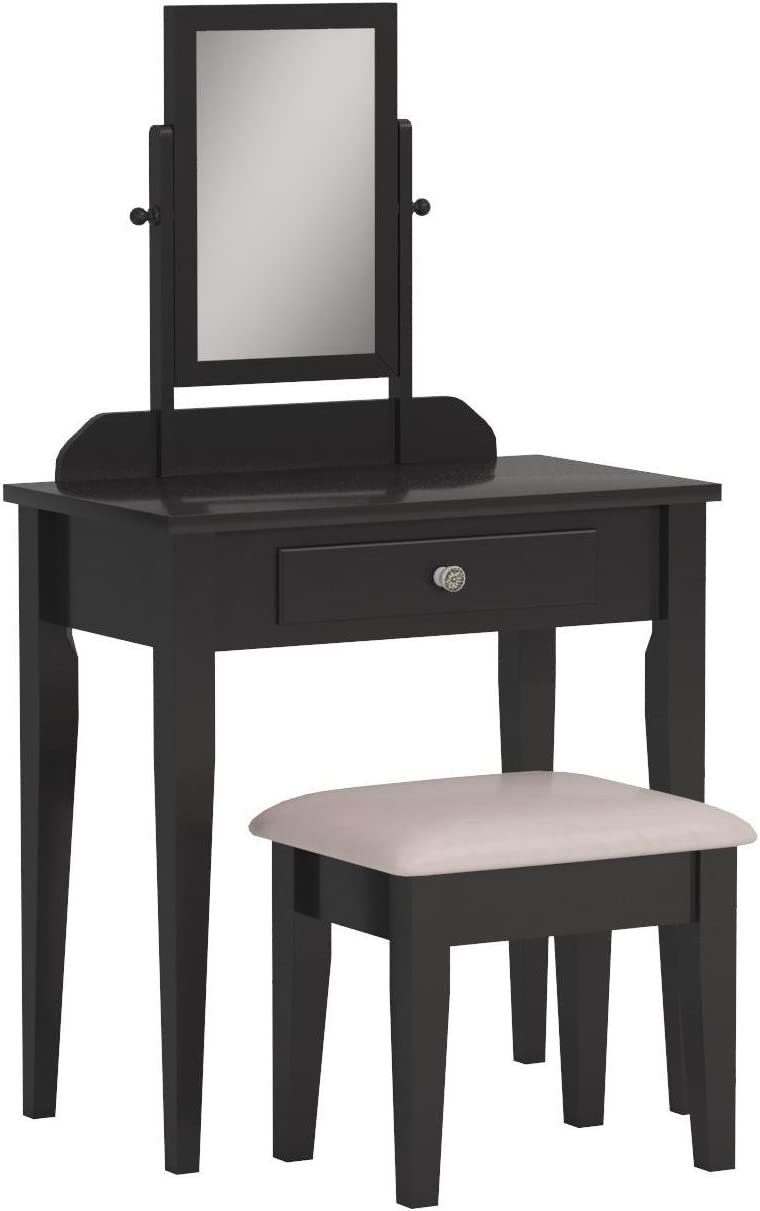 Crown Mark Iris Vanity Special price Table Stool S with Finish Beige Espresso OFFicial site