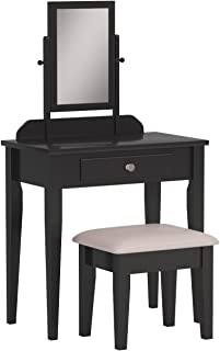 vanity table mirror and stool