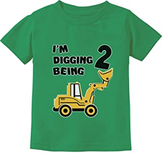 2nd Birthday Bulldozer Construction Party 2 Years Old Boy Toddler Kids T-Shirt