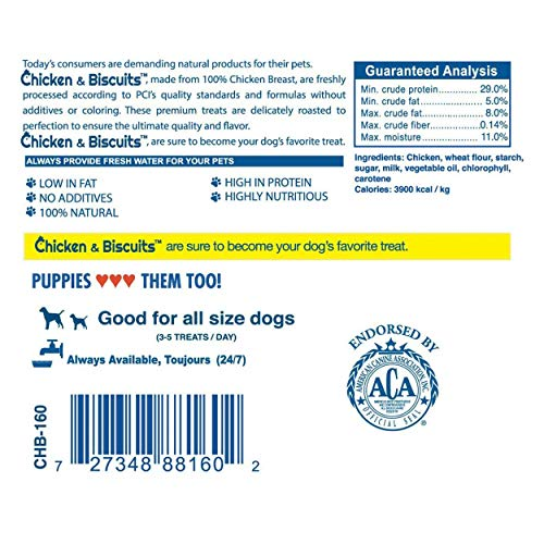 PCI Pet Center Inc. Chicken & Biscuits, Biscuits wrapped with Chicken Breasts Dog Treats, 1 Pound Container