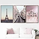 Pink Feather Paris Tower Road Arte de la Pared Lienzo Pintura Carteles Impresiones Cuadros de Pared Sala de Estar Chica Dormitorio Decoracion Moderna para el hogar 30 × 42 cm × 3 Sin Marco