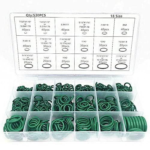 Raybre Art 530Pcs O Ring Seal R134a Kit guarnizioni O-Ring in Gomma per Aria condizionata Universale per Auto, 18 Dimensioni