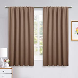 NICETOWN Bedroom Blackout Panels - Window Treatment Thermal Insulated Solid Rod Pocket Blackout Curtains/Drapes for Kitchen Decoration (Cappuccino, Set of 2, 52 by 63 inches)