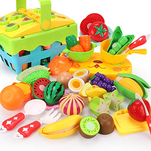 REMOKING Food Toy Set, STEM Kitchen Pretend Cutting Play Set, Educational Food Playset with Fruits, Vegetables ,Basket , Tableware Recognition Blocks, Great Giftsfor Kids 3 Years and up(35 Pieces)