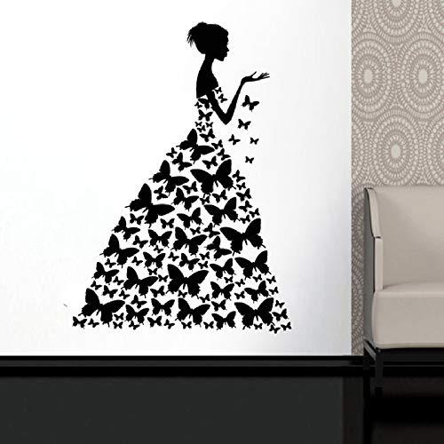 HNXDP Schmetterling Wandtattoo Fensteraufkleber Schönheitssalon Frau Gesicht Mode Stil Kleid Schwarz Kleid Kunstwand 24 braun 80x57 cm