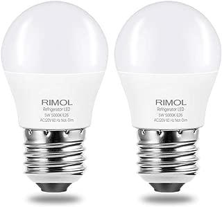 Refrigerator Light Bulb, RIMOL 40W Equivalent 120V A15 LED Fridge Bulbs 5 Watt Daylight White 5000K E26 Medium Base, Energy Saving Freezer Ceiling Home Lighting, Not-Dim, Waterproof, 2 Pack