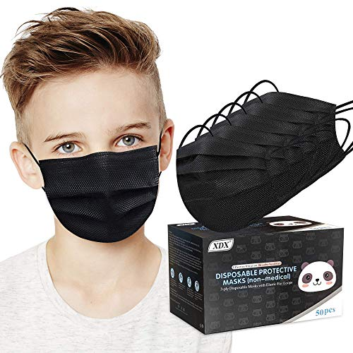 """XDX Kids Face Mask, Black Disposable Face Mask for Boys and Girls-Soft on Skin, 3 Ply - 5.7"""" x 3.7"""" Children's Size - for Childcare, School, Daily Use (50 Pcs)"""