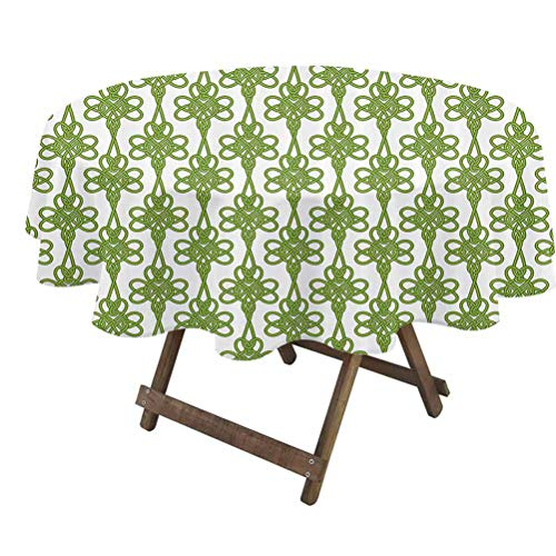 prunushome Irish Tabletop Cloth Entangled Clover Leaves Twigs Celtic Pattern Botanical Filigree Inspired Retro Tile for Everyday Indoor/Outdoor Dining Green Cream | 36' Round
