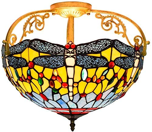Lámpara de techo, luz de baño Montaje enrojecimiento de 16 pulgadas Antiguo Libélago Manchado Manchado Sombra Colgante Colgante Colgante Lanzamiento para comedor Dormitorio, Azul ( Color : Yellow )