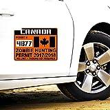 Etiqueta engomada del coche de moda Permiso de caza Zombie de Canadá Estilo del automóvil Calcomanía reflectante retro para Skoda Volvo, 16 cm * 12 cm