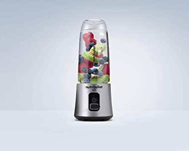 NutriBullet GO Portable Blender for Shakes and Smoothies, 13 Ounces, 70 Watts, Silver, NB50300S