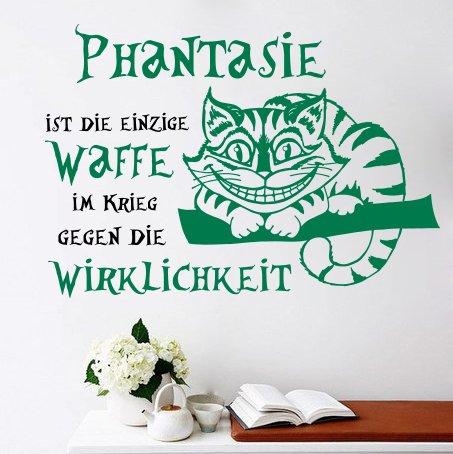 Vinyl Wandtattoo Zitat Alice im Wunderland Phantasie ist einzige Waffe im Krieg gegen Wirklichkeit Cheshire Cat Cheshire-Katze Edamer-Katze Grinsekatze Wandaufkleber Wandsticker Wohnzimmer MS193