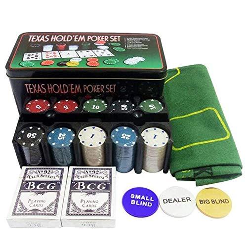 XSWL 200pcs Divertido Juego de póquer portátil Digital Juego de póquer Club Ligero Casino para Adultos con fichas de plástico