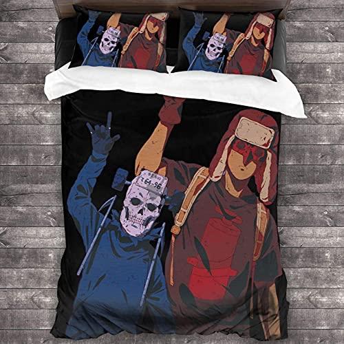 Fujita Do_Rohed_Oro Juego de ropa de cama con funda nórdica con impresión 3D Juego de ropa de cama de 3 piezas suave y transpirable 1 funda de edredón + 2 fundas de almohada (sin edredón) C10463