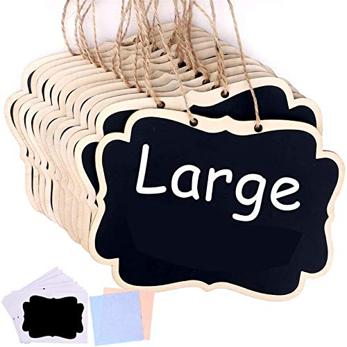 Jekkis 20 Pack Hanging Chalkboards Signs, 6.3 x 4.7 Inch Mini Chalkboards Signs with Chalkboard Labels, Message Board Signs for Wedding or Party Decorations