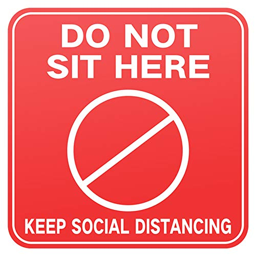 20 PCS Please Do Not Sit Here Decal 6 Inches Social Distancing Sign Commercial Grade Vinyl Sticker Floor Chair Desk Wall Notice