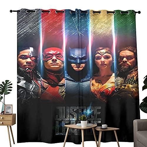 Cortinas opacas para dormitorio de la Liga de la Justicia Miembro de acero hueso Flash Bat Man Won der Wo Man Linterna Verde Adecuado para habitación y baño, 1 par de paneles de 42 x 63 pulgadas