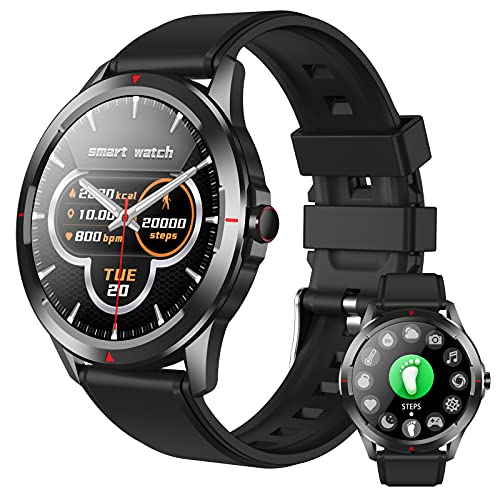 HQPCAHL Smartwatch Hombre Reloj Inteligente, Pulsera de Actividad Inteligente Pulsómetro, Monitor de Sueño Impermeable IP67 Caloría Podómetro, Fitness Reloj Deportivo Cronómetro Android iOS,Negro