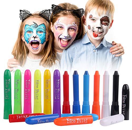 Luxbon 12 Farben Gesicht Malen Buntstifte Kinderschminke Set - Kinder Sicher Ungiftig Drehbar Waschbar - für DIY Cosplay Halloween Mottopartys