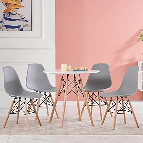 ZOONFA Dining Table with Chairs Set of 4 White Plastic Chair Rectangle Dining Table Kitchen Modern Rectangle Kitchen Lounge Wood Style Dining Room Sets (Grey, 80 x 80 cm)