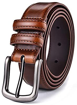 "Mens Belt, Autolock Genuine Leather Dress Belt Classic Casual 1 1/4"" Wide Belt With Single Prong Buckle"