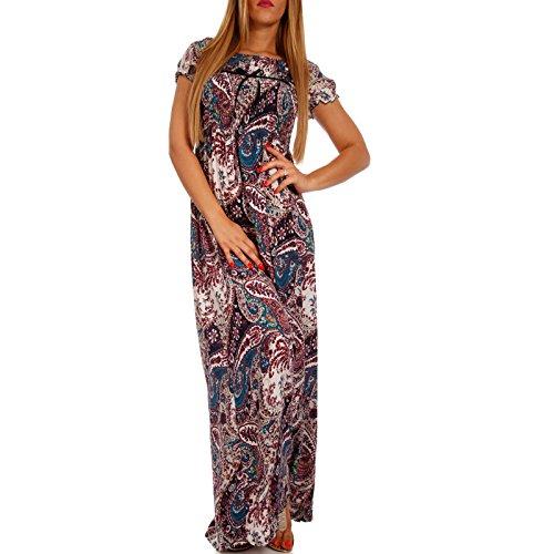 Young-Fashion Maxi-Kleid Carmen Kurzarm und mit Ausschnitt - Als stylisches Strand-Kleid oder...