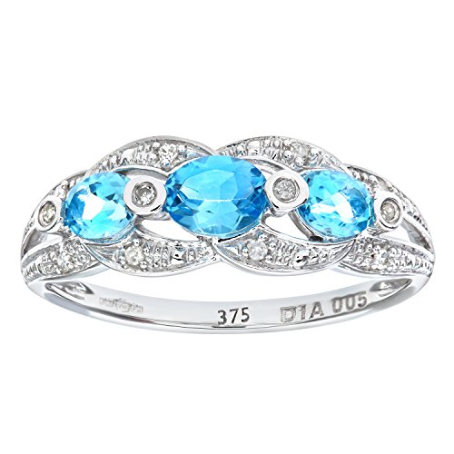 Naava Women's 9 ct White Gold Blue Topaz and Diamond Fig Eight Design Ring, Size P