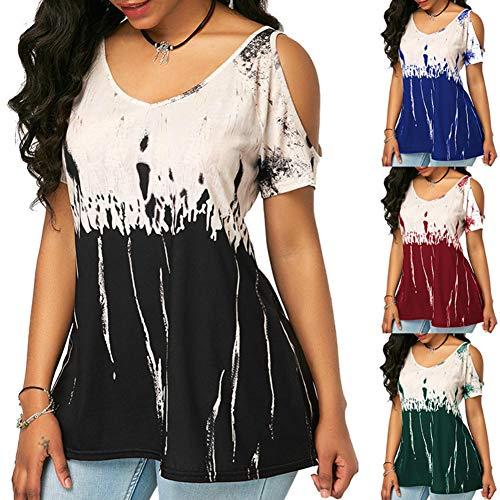 Frauen Hollow-Out Schulter Bedruckte T-Shirts Lose Kurzarm Casual Tops Blusen Pullover (Weinrot,XXL)