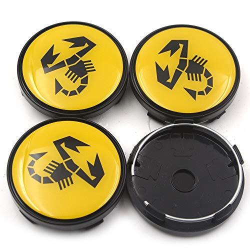 AutoRadnabenkappen Abdeckung 4pcs / lot 60mm Kompatibel mit Abarth und 500 Auto Emblem RAD CENTER HUB CAP RAD ABDECKEN Kompatibel mit 124 125 125 500 695 OT2000 Putsch Emblem ( Color : Yellow Abarth )