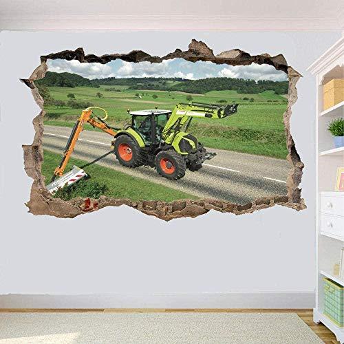 3D Pegatinas,Tractor Cortasetos De Carretera,Vinilo Removible Etiquetas De La Pared/Murales Decoración Del Hogar De La Sala De Estar Del Dormitorio 40X60 Cm / 15.7X23.6 Pulgadas