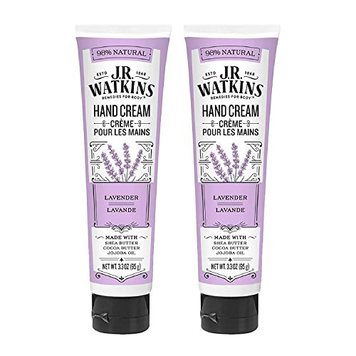 J.R Watkins Moisturizing Hand Cream - Lavender - Made with Shea Butter, Cocoa Butter, Jojoba Oil - 3.3 Oz - Pack of 2