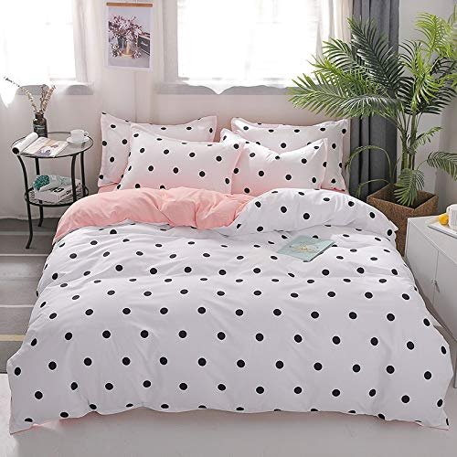 Sábanas de cuatro estaciones de estilo nórdico rosa corazón ropa de cama juego de cama encantador edredón edredón funda de cama y funda de almohada king size hogar textil conjunto 200x230cm4pcs 19