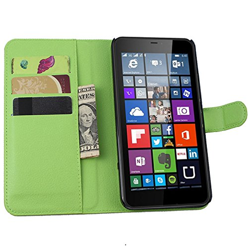 Ycloud Tasche für Nokia Microsoft Lumia 640 XL Dual-SIM Hülle, PU Ledertasche Flip Cover Wallet Case Handyhülle mit Stand Function Credit Card Slots Bookstyle Purse Design grün