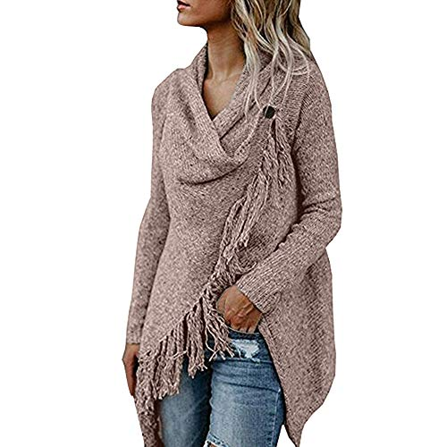 Buy Cheap F_Gotal Women Open Front Cardigan Tassel Irregular Coat Knitted Sweater Poncho Shawl Jacke...