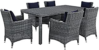 Modway Summon 7 Piece Outdoor Patio Dining Set With Sunbrella Brand Navy Canvas Cushions