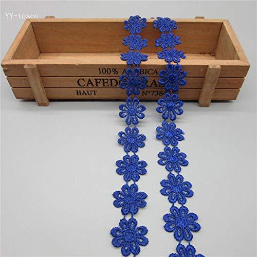 Nieuwe 2 Yards kleurrijke sierlijke bloemen Daisy Polyester Lace Trim geborduurd kant lint voor naaien Craft Wedding Diy, koningsblauw