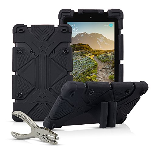 """Universal 7 inch Tablet Case Shockproof Silicone Stand Cover for All Versions RCA Voyager 7"""" (2016, 2017) / Samsung Galaxy Tab 3/4/A/E Lite 7"""" / Google Nexus MatrixPad Z1 7"""" and More with DIY Puncher"""