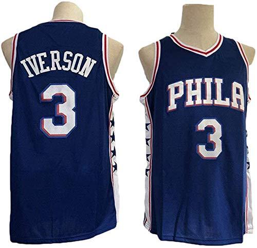 Lajx Maillot de baloncesto para hombre al aire libre Iverson Sports de secado rápido de la competencia #3 azul Jersey