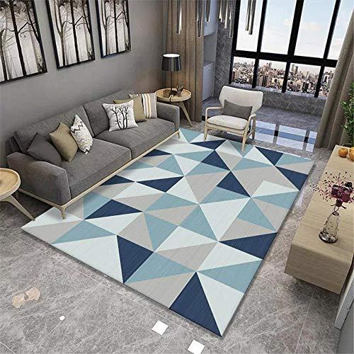 Kunsen Alfombra Sala de Estar Dormitorio Azul Gris patrón geométrico no se desvanece decoración habitación niña alfombras en Rollo alfombras Comedor Estilo