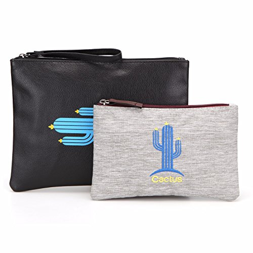 Toiletry Small Pouch Cosmetic Makeup Zipper Personalized Bag for Women Teen Girl (Cactus Set)