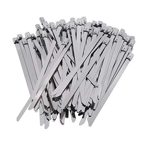 Kingus 100 STK. Edelstahl Metall Kabelbinder Auspuff Wrap Coated Locking Zip Ties,4,6 * 130 mm